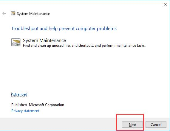 system maintance troubleshoot