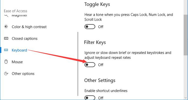 turn off filter keys