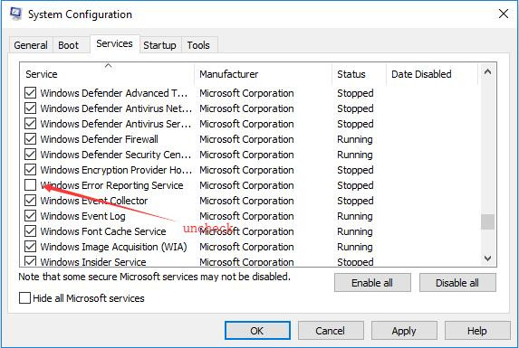 uncheck windows error reporting service