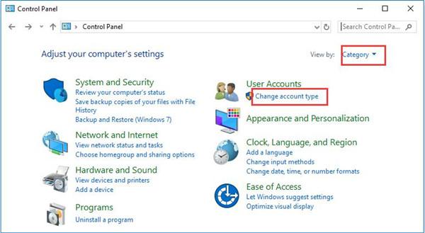 user account change account type