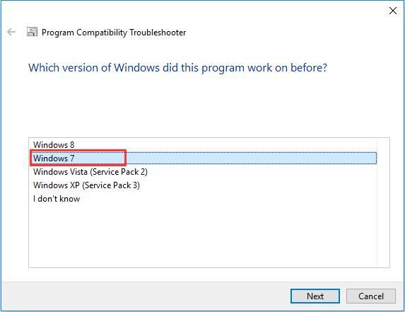 which version of windows did this program work windows 7