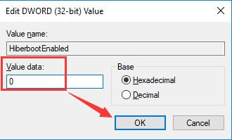 change hiber value data to 0