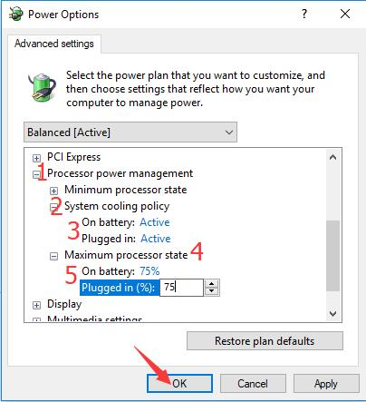 change processor power management in power options