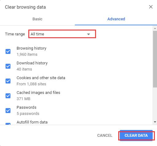clear browsing data select items and date