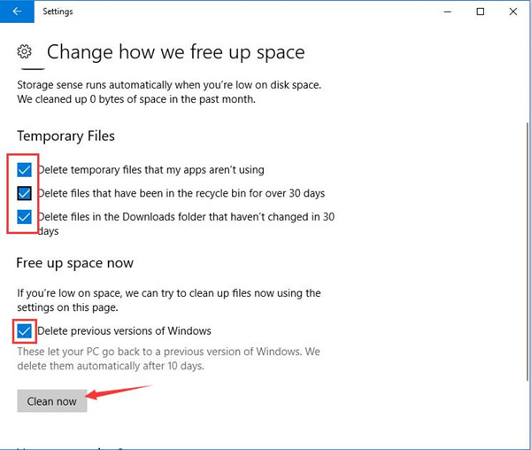 delete temporary files and previous version of windows