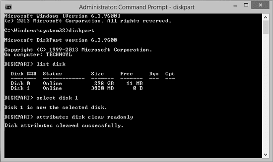 diskpart remove write protection