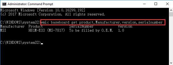 wmic baseboard get product manufacturer version serial number