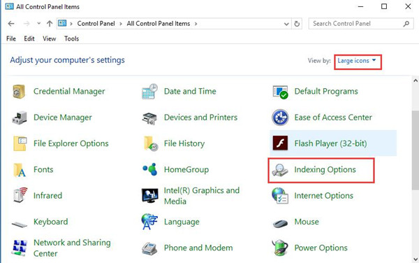 indexing option in control panel