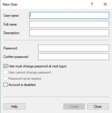 input new account information