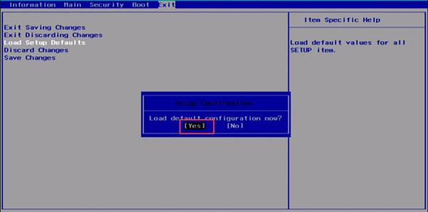 load default configuration for bios