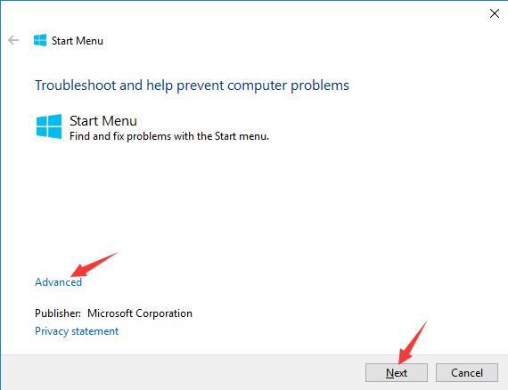 microsoft start menu troubleshooter