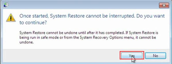 once started system restore