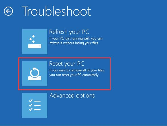 reset your pc in boot options menu