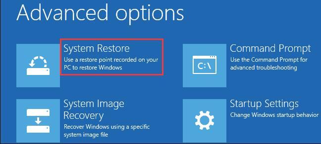 system restore advanced options