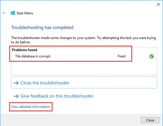start menu troubleshooting has completed