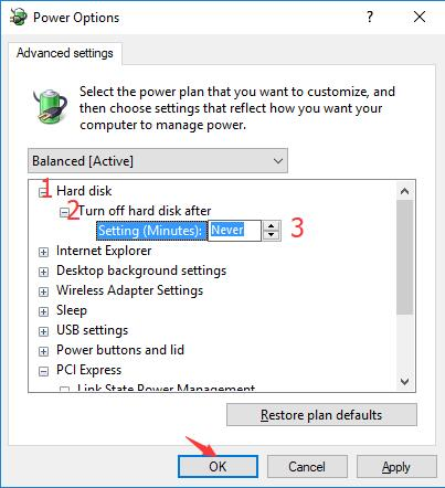 turn off hard disk after never in power options