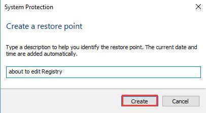 type a restore point description