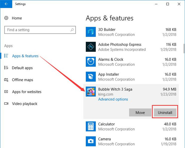 uninstall apps in apps and features