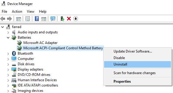 uninstall the microsoft acpi-compliant control method battery