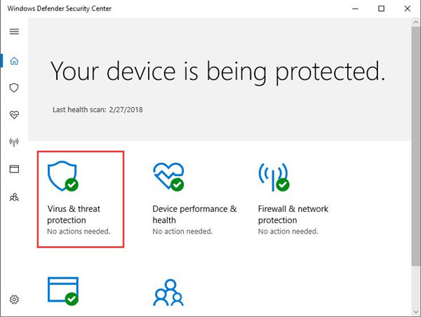virus and threat protection in windows defender