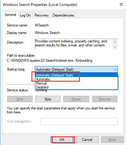 windows search properties automatic