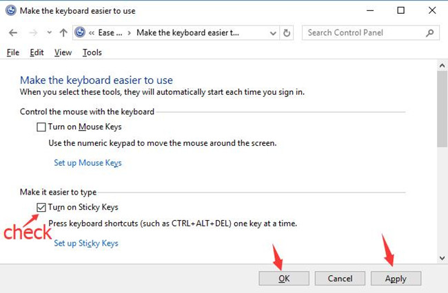 check the box for turn on sticky keys