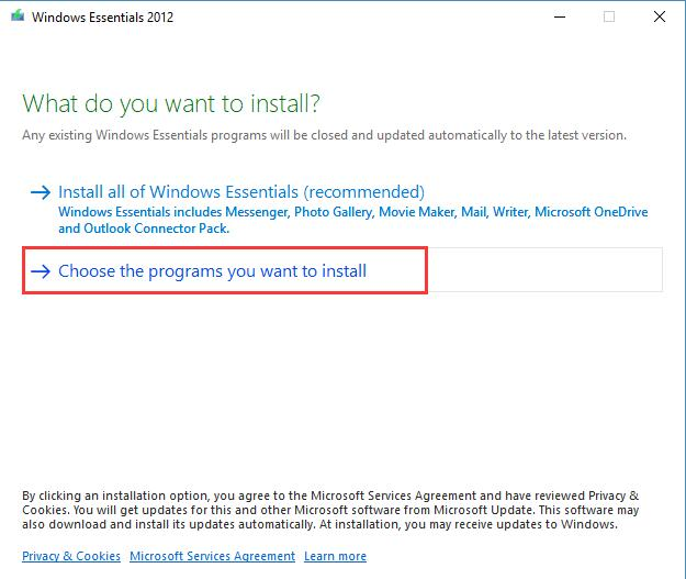 choose the programs you want to install