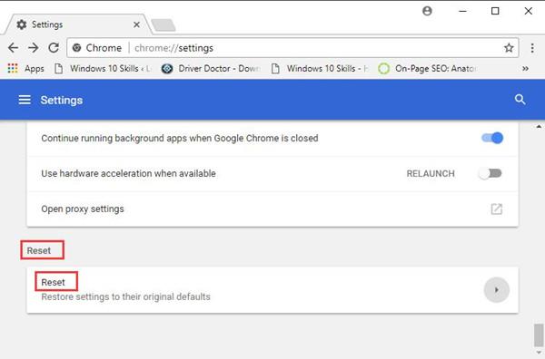 google chrome advanced reset
