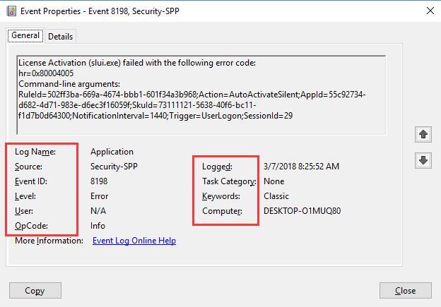error details in event viewer