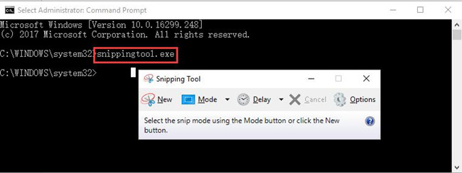 input snippingtool.exe in command prompt