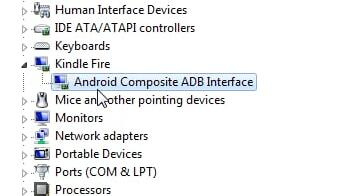 kindle fire in device manager
