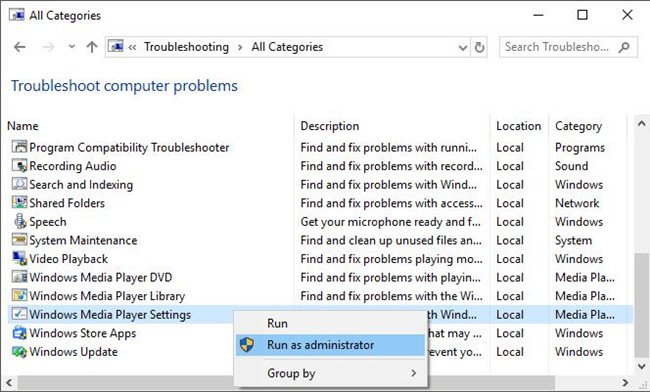 run windows media player troubleshooter as administrator
