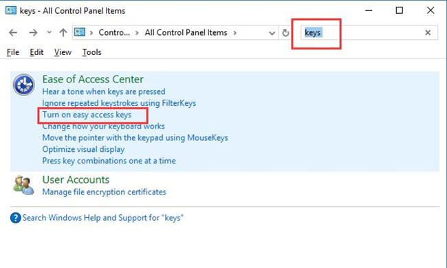 search keys in control panel