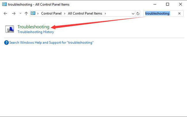 search troubleshooting in control panel