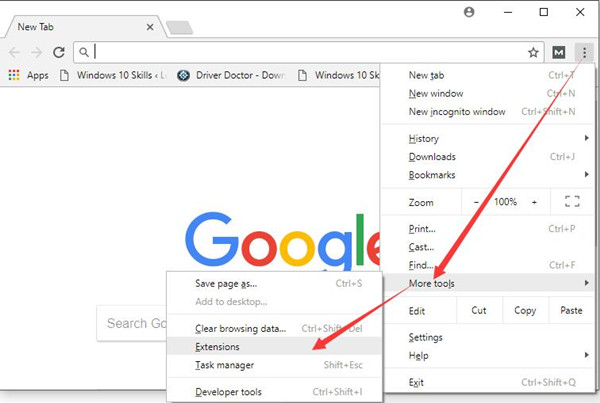 select extensions from google chrome more tools