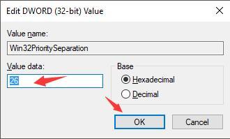 set win32 priority separation key as 26