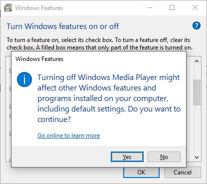 turn off windows media playere in control panel