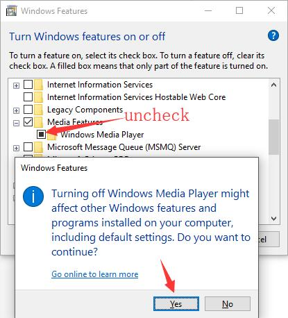 turn off windows media player in windows features