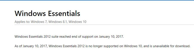 windows essentials not available announcement