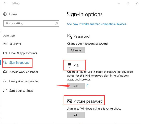 sign in options add pin or picture password