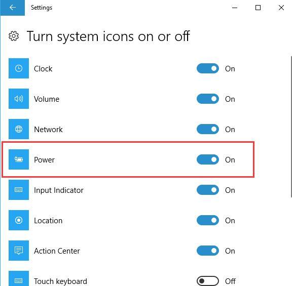 turn power icon on windows 10