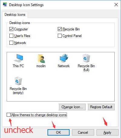 uncheck allow themes to change desktop icons