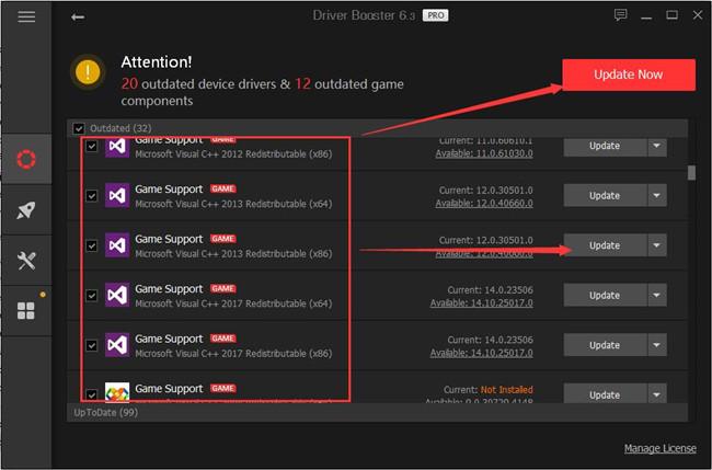 update microsoft visual c redistributable driver booster