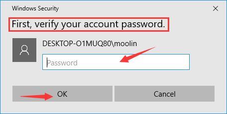 verify your account password