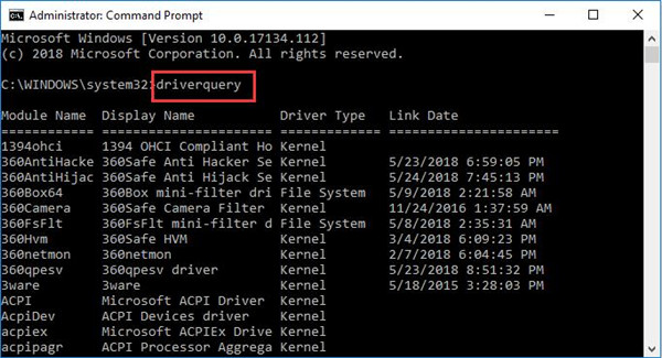 driver query in command prompt