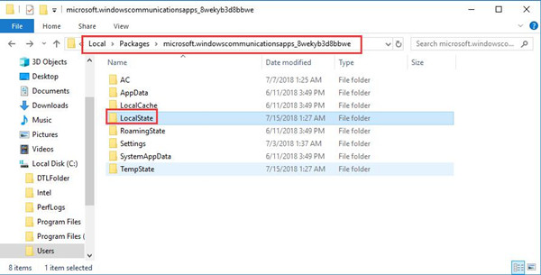 local state in microsoft windows communications apps folder