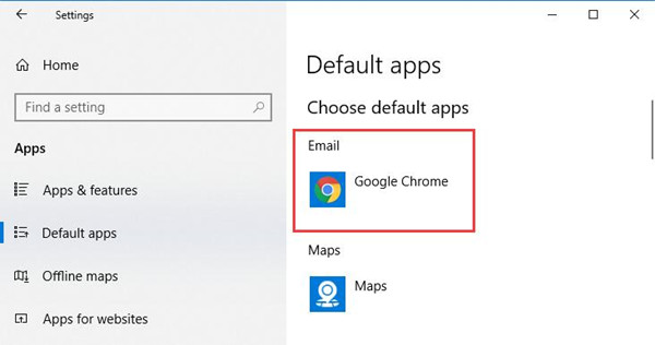 set google chrome as default mail app