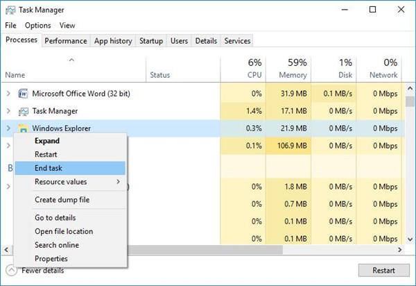 end windows explorer process