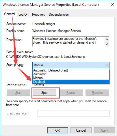 disable windows license manager service
