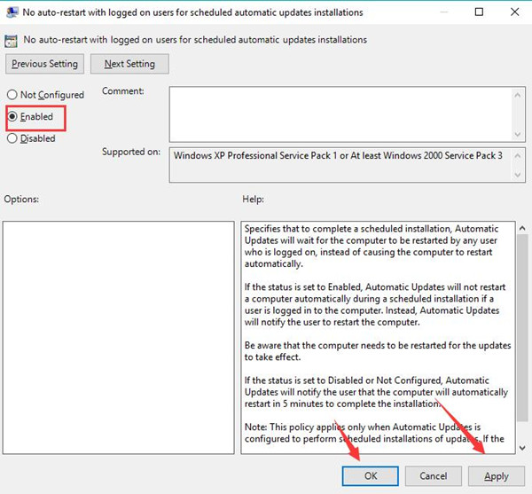 enable no auto restart with logged on users for scheduled automatic updates installations